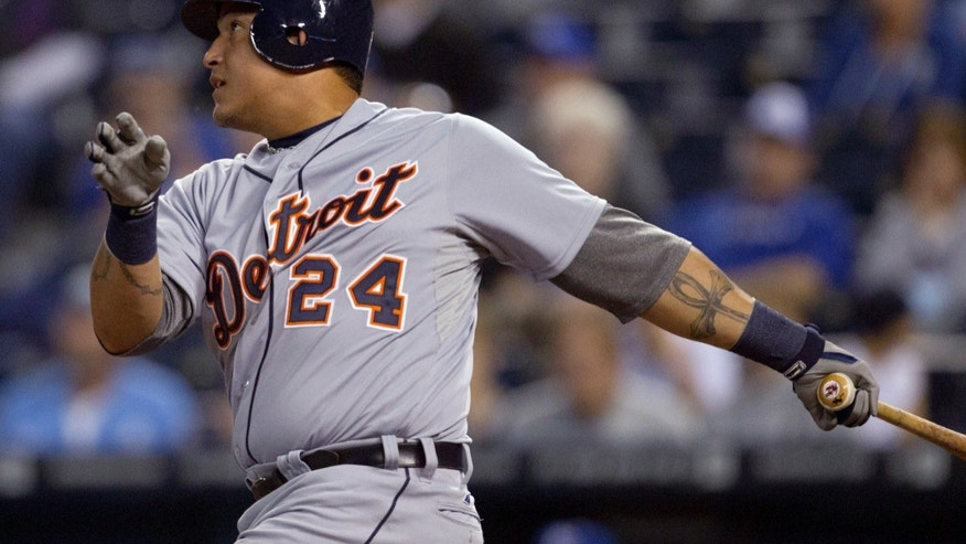 Oct. 2, 2012: Detroit Tigers' Miguel Cabrera watches his single off Kansas City Royals starting pitcher Jeremy Guthrie during the first inning of a baseball game at Kauffman Stadium in Kansas City, Mo.