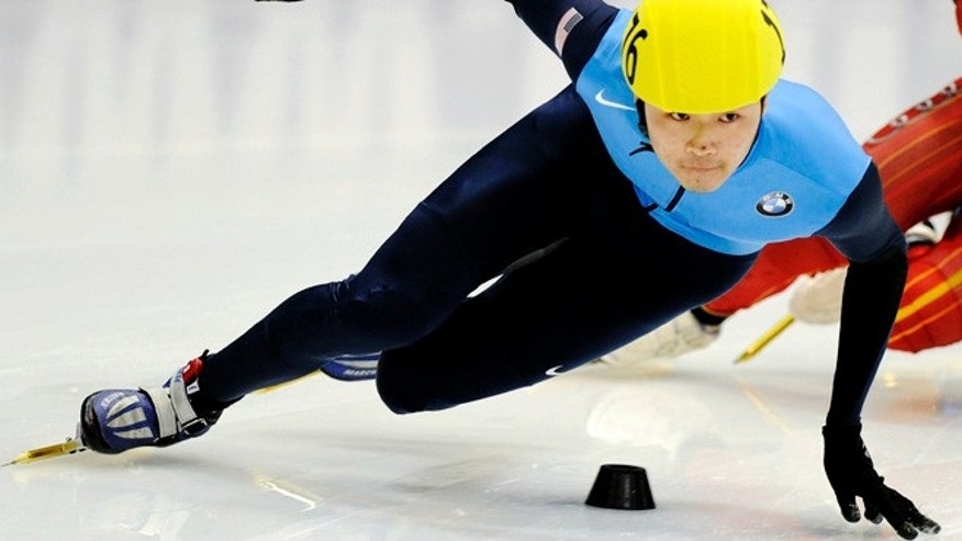 Feb. 20, 2011: In this file photo, winner Simon Cho, of the United States, competes during the men's 500-meter final race at the Short Track Speedskating World Cup in Dresden, Germany.