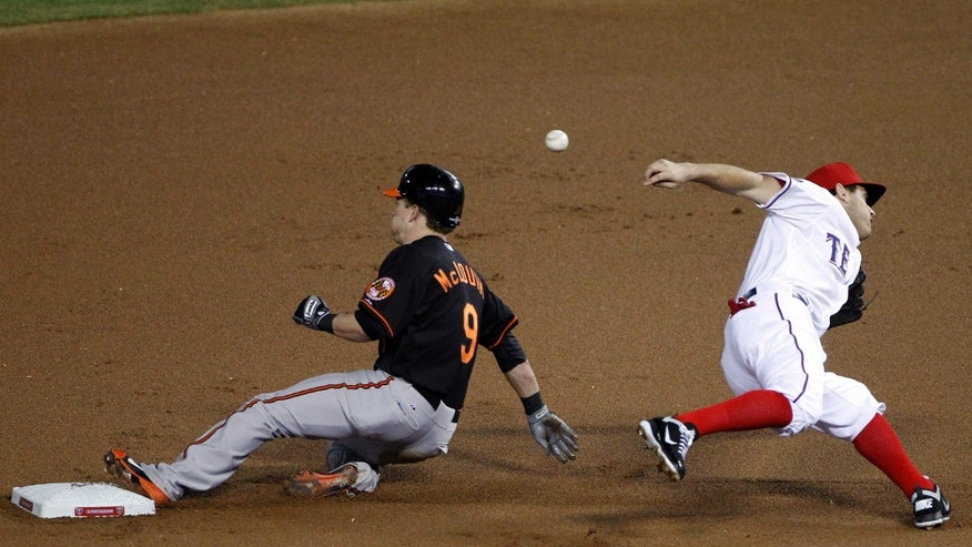 Oct. 5, 2012: Baltimore Orioles' McLouth (9) steals second base as Texas Rangers second baseman Ian Kinsler misses the throw during the first inning of an American League wild-card playoff baseball game.