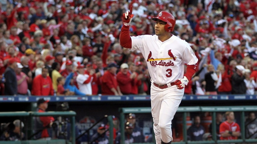 ST LOUIS, MO - OCTOBER 08:  Carlos Beltran #3 of the St. Louis Cardinals celebrates after hitting home run in the sixth inning against the Washington Nationals during Game Two of the National League Division Series at Busch Stadium on October 8, 2012 in St Louis, Missouri.  (Photo by Jamie Squire/Getty Images)
