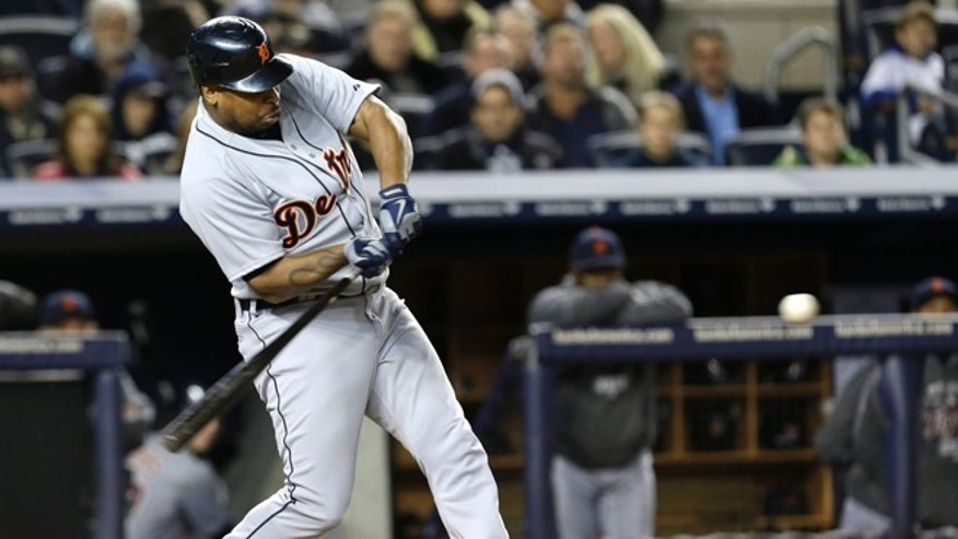 Oct. 13, 2012: Detroit Tigers' Delmon Young hits a solo home run in the eighth inning during Game 1 of the American League championship series against the New York Yankees in New York.
