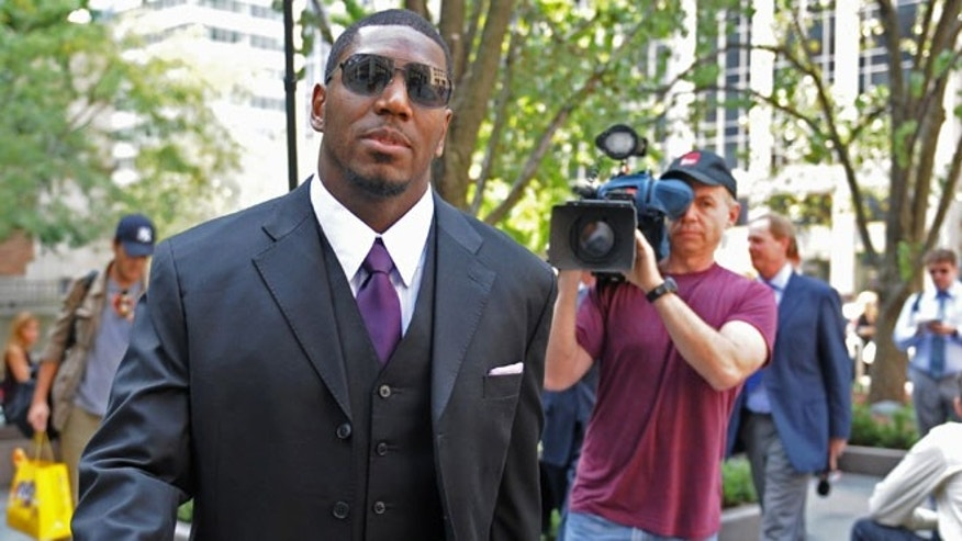 Sep. 17, 2012: New Orleans Saints linebacker Jonathan Vilma arrives at the NFL football headquarters to meet with Commissioner Roger Goodell to discuss his suspension that was temporarily lifted, in New York.