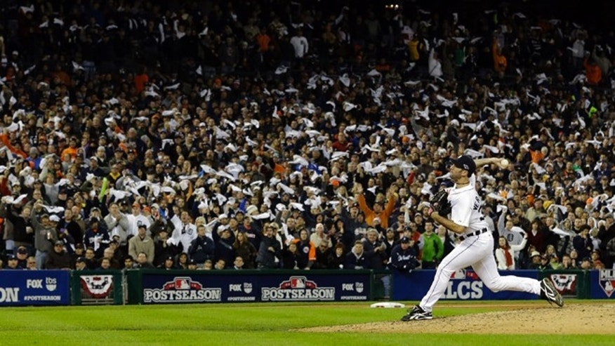 Oct. 16, 2012: Detroit Tigers' Justin Verlander throws in the seventh inning during Game 3 of the American League championship series against the New York Yankees in Detroit.