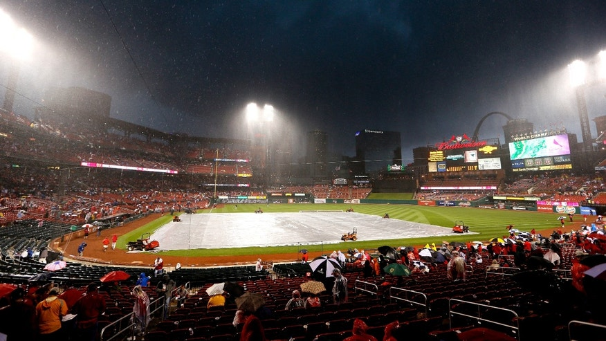 ST LOUIS, MO - OCTOBER 17:  A general view during a rain delay in the seventh inning in Game Three of the National League Championship Series between the San Francisco Giants and the St. Louis Cardinals at Busch Stadium on October 17, 2012 in St Louis, Missouri.  (Photo by Kevin C. Cox/Getty Images)