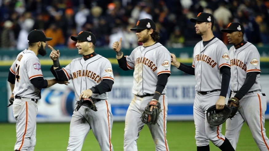 Oct. 27, 2012: San Francisco Giants celebrate after Game 3 of baseball's World Series against the Detroit Tigers.
