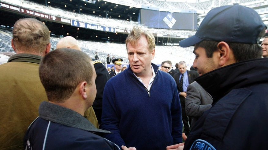 Nov. 4, 2012: Superstorm Sandy first responders Geovanny Buitron, right, and Steve Shore, left, talk to NFL Commissioner Roger Goodell before a football game between the New York Giants and the Pittsburgh Steelers in East Rutherford, N.J.
