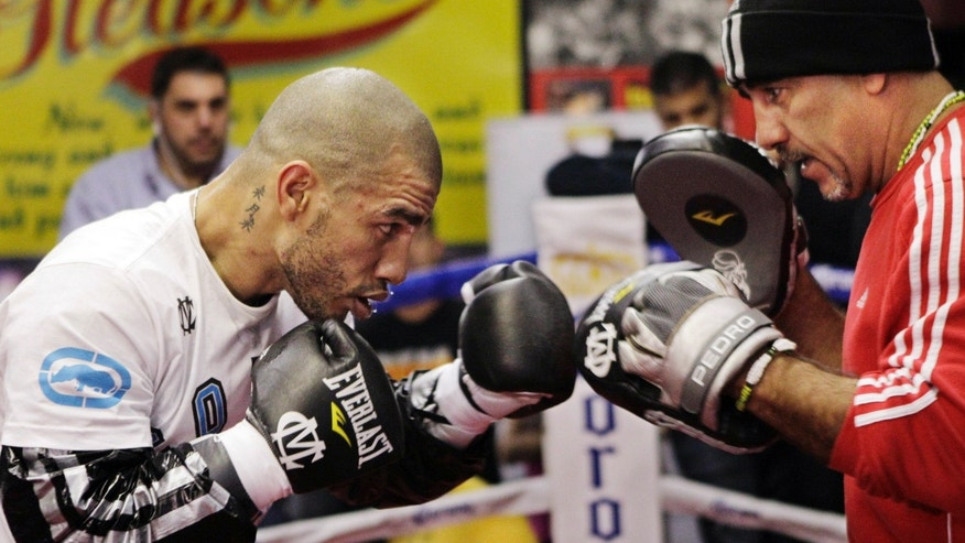Miguel Cotto, left, of Puerto Rico, spars with his trainer Pedro Diaz during a workout at Gleason's Gym in the Brooklyn borough of New York, Tuesday, Nov. 27, 2012. Cotto is scheduled to fight Austin Trout in a boxing match for Trout's WBA super welterweight title Saturday, Dec. 1, at Madison Square Garden. (AP Photo/Kathy Willens)