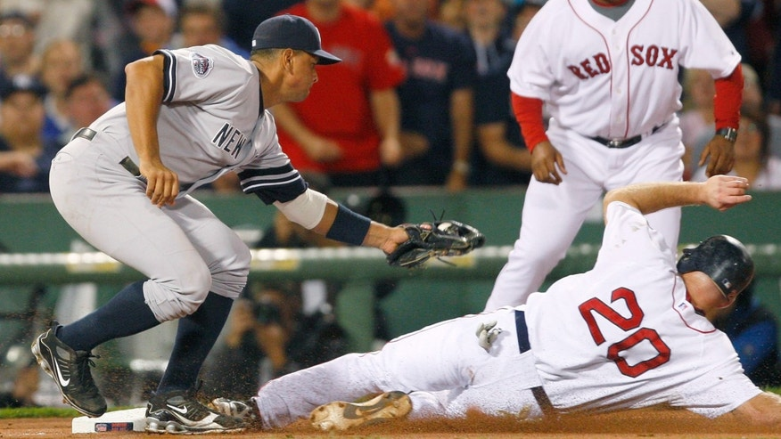 Alex Rodriguez #13 of the New York Yankees slaps a late tag on a sliding Kevin Youkilis #20 of the Boston Red Sox at Fenway Park on July 27, 2008 in Boston, Massachusetts.  (Photo by Jim Rogash/Getty Images)