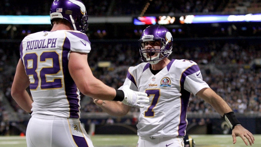 Minnesota Vikings quarterback Christian Ponder, right, is congratulated by teammate Kyle Rudolph after scoring on a 5-yard touchdown run during the first quarter of an NFL football game against the St. Louis Rams Sunday, Dec. 16, 2012, in St. Louis. (AP Photo/Tom Gannam)