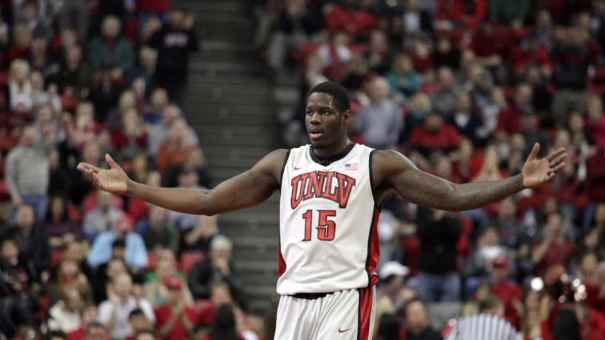 UNLV's Anthony Bennett looks to the crowd after scoring two points against Northern Iowa in the first half of an NCAA college basketball game on Wednesday, Dec. 19, 2012, in Las Vegas. (AP Photo/John Gurzinski)