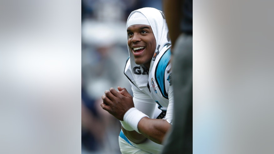 Carolina Panthers quarterback Cam Newton is seen prior to start of the NFL football game against the San Diego Chargers Sunday, Dec. 16, 2012, in San Diego. (AP Photo/Gregory Bull)