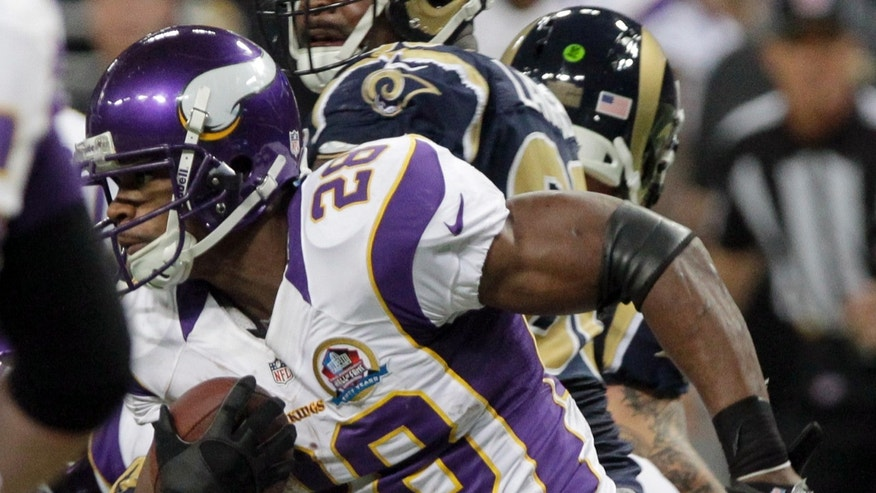 Minnesota Vikings running back Adrian Peterson (28) breaks free for an 82-yard touchdown run during the second quarter of an NFL football game against the St. Louis Rams Sunday, Dec. 16, 2012, in St. Louis. (AP Photo/Seth Perlman)