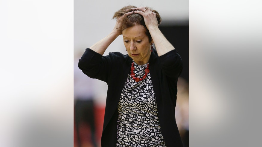Notre Dame head coach Muffet McGraw reacts after a turnover against Texas A&M in the second half during an NCAA college basketball game, Friday, Dec. 21, 2012, in Las Vegas. Notre Dame won 83-74. (AP Photo/Julie Jacobson)