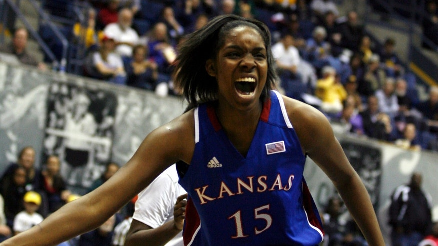 Kansas' Chelsea Gardner reacts after missing a pass in the first half of an NCAA women's college basketball game against California in Berkeley, Calif., Friday, Dec. 21, 2012. (AP Photo/Dino Vournas)