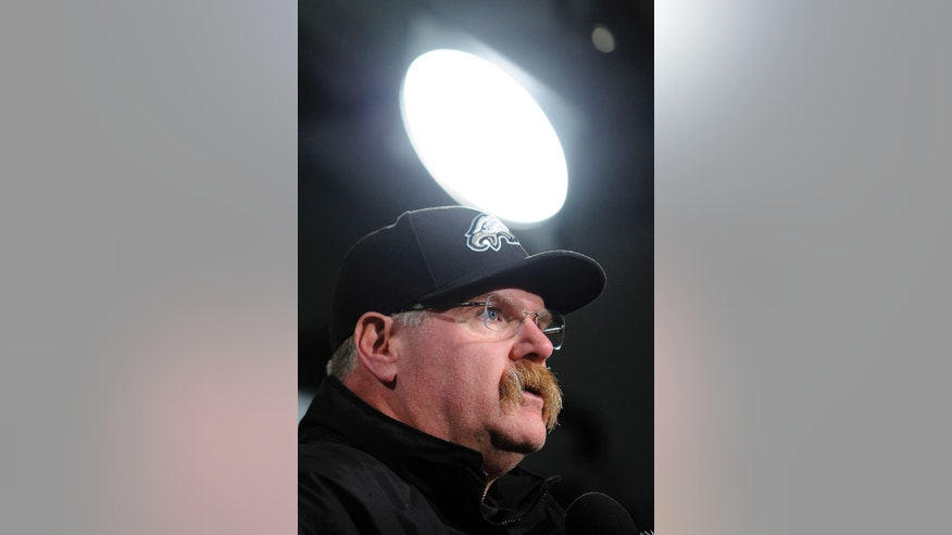 Philadelphia Eagles coach Andy Reid speaks during a news conference after an NFL football game against the Washington Redskins, Sunday, Dec. 23, 2012, in Philadelphia. Washington won 27-20. (AP Photo/Michael Perez)