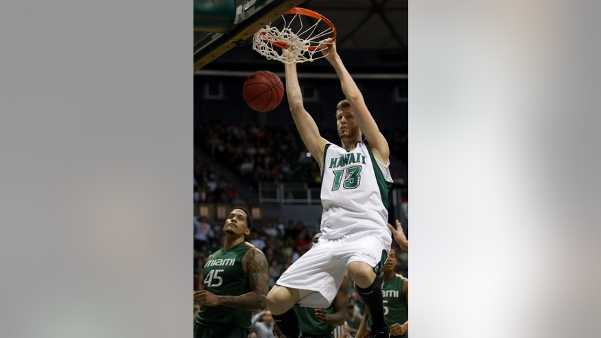 Miami forward Julian Gamble (45) looks on as Hawaii center Davis Rozitis (13) finished strong on a dunk in the first half of an NCAA college basketball game in the Diamond Head Classic Saturday, Dec. 22, 2012, in Honolulu. (AP Photo/Eugene Tanner)
