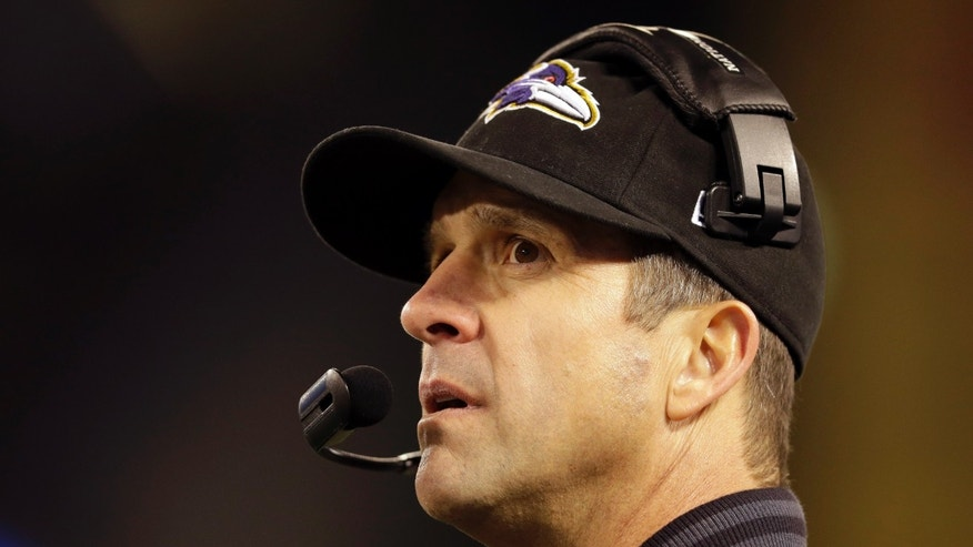 Baltimore Ravens head coach John Harbaugh looks on in the second half of an NFL football game against the New York Giants in Baltimore, Sunday, Dec. 23, 2012. (AP Photo/Evan Vucci)