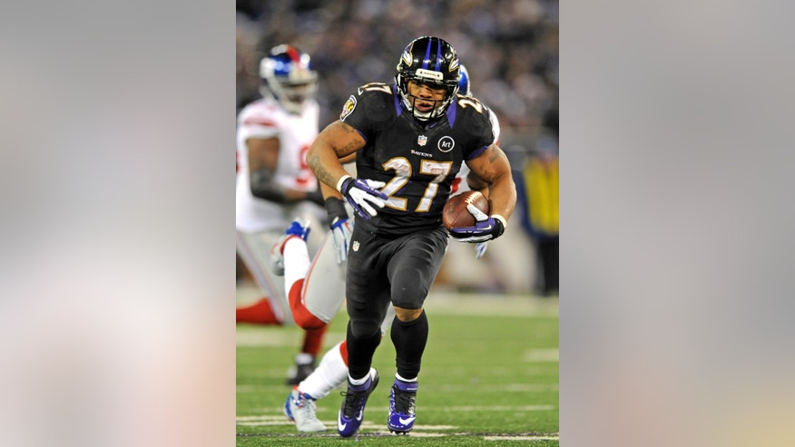 Baltimore Ravens' Ray Rice runs for a first-half touchdown during an NFL football game against the New York Giants in Baltimore, Sunday, Dec. 23, 2012. (AP Photo/The Record, Tyson Trish)  MAGAZINES OUT; TV OUT; INTERNET OUT; NO ARCHIVING; MANDATORY CREDIT