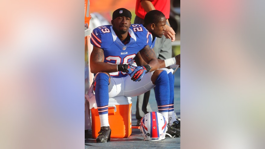 Buffalo Bills' Crezdon Butler (29) sits on the sidelines during the final minutes of an NFL football game against the Miami Dolphins, Sunday, Dec. 23, 2012, in Miami. The Dolphins defeated the Bills 24-10. (AP Photo/John Bazemore)