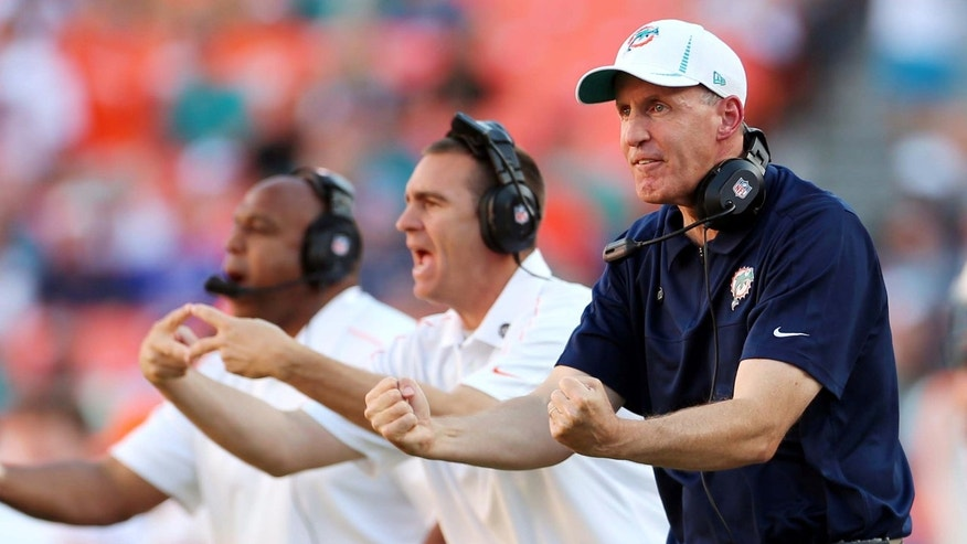 Miami Dolphins head coach Joe Philbin, right, gestures during the second half of an NFL football game against the Buffalo Bills, Sunday, Dec. 23, 2012, in Miami. (AP Photo/J Pat Carter)