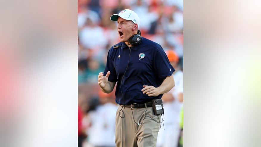 Miami Dolphins head coach Joe Philbin reacts during the second half of an NFL football game against the Buffalo Bills, Sunday, Dec. 23, 2012, in Miami. (AP Photo/J Pat Carter)
