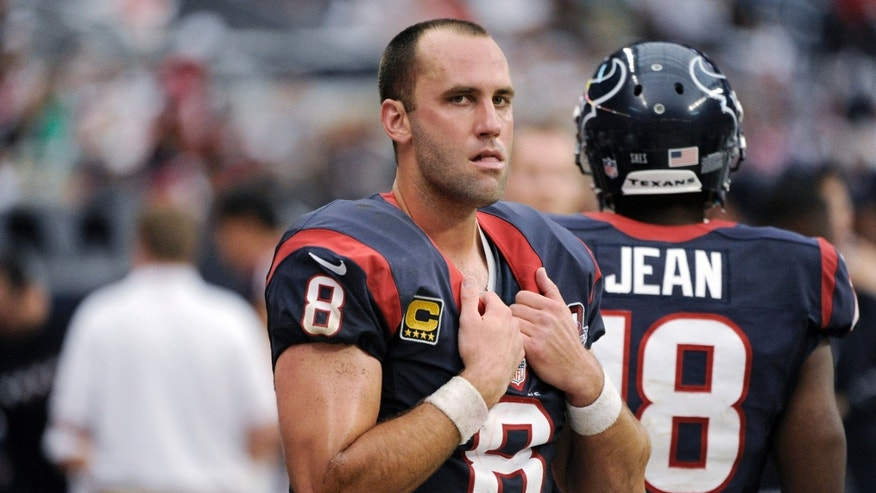 Houston Texans quarterback Matt Schaub (8) watches from the sidelines during the fourth quarter of an NFL football game against the Minnesota Vikings on Sunday, Dec. 23, 2012, in Houston. The Vikings won 23-6. (AP Photo/Dave Einsel)