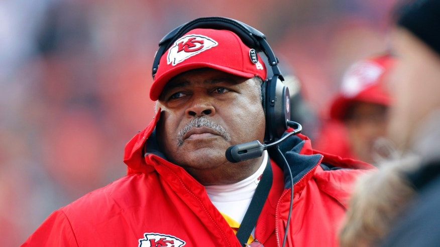 Kansas City Chiefs coach Romeo Crennel watches during the first half of his team's NFL football game against the Indianapolis Colts on Sunday, Dec. 23, 2012, in Kansas City, Mo. (AP Photo/Ed Zurga)