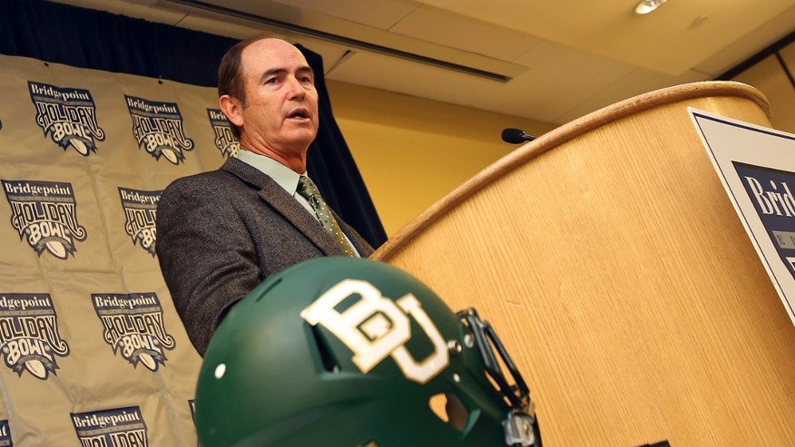 Baylor coach Art Briles answers questions at a coaches' press conference for the Holiday Bowl NCAA college football game against UCLA, Wednesday Dec. 26, 2012 in San Diego. (AP Photo/Lenny Ignelzi)