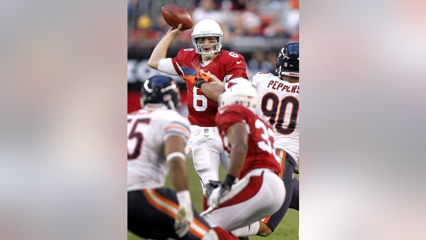 Arizona Cardinals quarterback Brian Hoyer (6) looks to pass against the Chicago Bears during the second half of an NFL football game, Sunday, Dec. 23, 2012, in Glendale, Ariz. (AP Photo/Paul Connors)