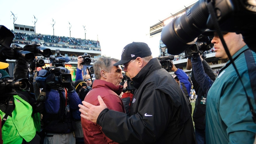Washington Redskins coach Mike Shanahan, left, and Philadelphia Eagles coach Andy Reid meet after an NFL football game, Sunday, Dec. 23, 2012, in Philadelphia. Washington won 27-20. (AP Photo/Michael Perez)