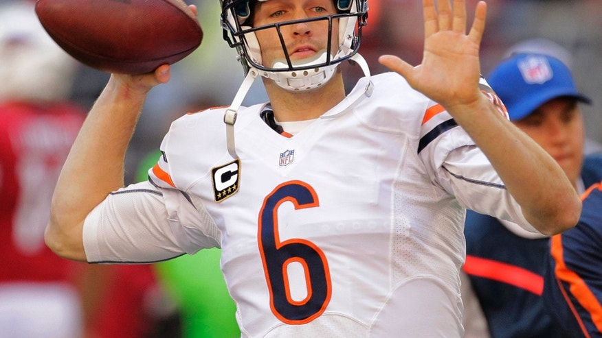 Chicago Bears quarterback Jay Cutler (6) warms up prior to an NFL football game against the Arizona Cardinals, Sunday, Dec. 23, 2012, in Glendale, Ariz. (AP Photo/Matt York)