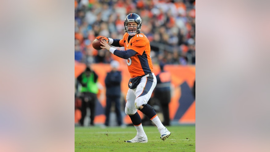 FILE - In this Dec. 23, 2012, file photo, Denver Broncos quarterback Peyton Manning sets up to throw a pass against the Cleveland Browns in the fourth quarter of an NFL football game in Denver. Manning was selected to the Pro Bowl on Wednesday, Dec. 26, 2012. (AP Photo/Jack Dempsey, File)