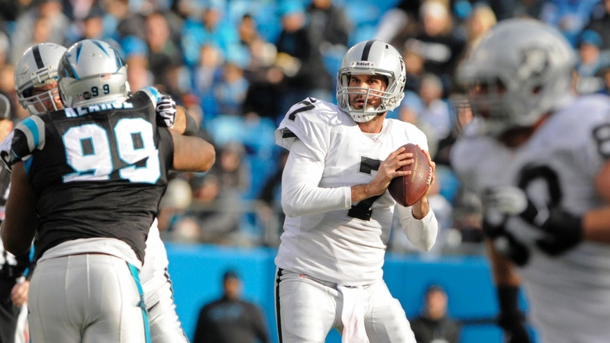Oakland Raiders' Matt Leinart (7) looks to pass under pressure from Carolina Panthers' Frank Kearse (99) during the second half of an NFL football game in Charlotte, N.C., Sunday, Dec. 23, 2012. (AP Photo/Mike McCarn)