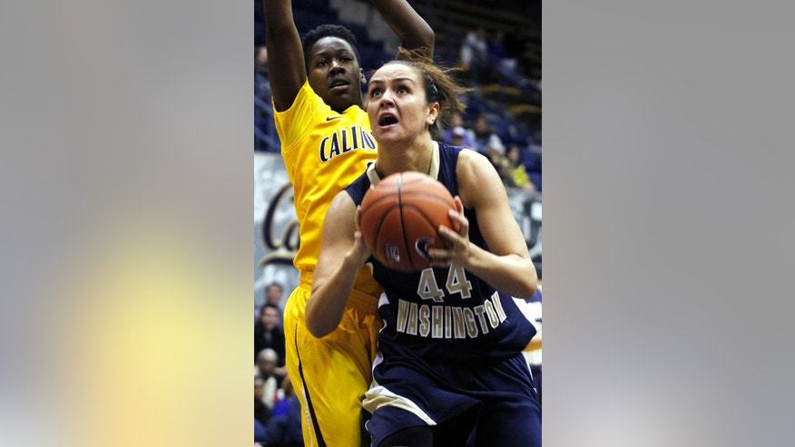 George Washington's Sara Mostafa shoots in front of California's Afure Jemerigbe during the first half of an NCAA women's college basketball game in Berkeley, Calif., Friday, Dec. 28, 2012. (AP Photo/George Nikitin)