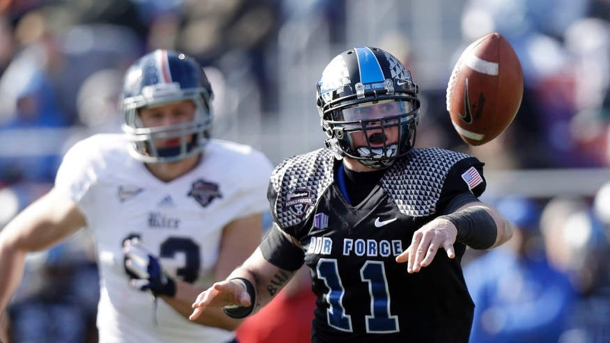 Air Force quarterback Connor Dietz (11) pitches the ball as Rice defensive end Tanner Leland (13) chases during the first half of the Armed Forces Bowl NCAA college football game, Saturday, Dec. 29, 2012, in Fort Worth, Texas. (AP Photo/LM Otero)
