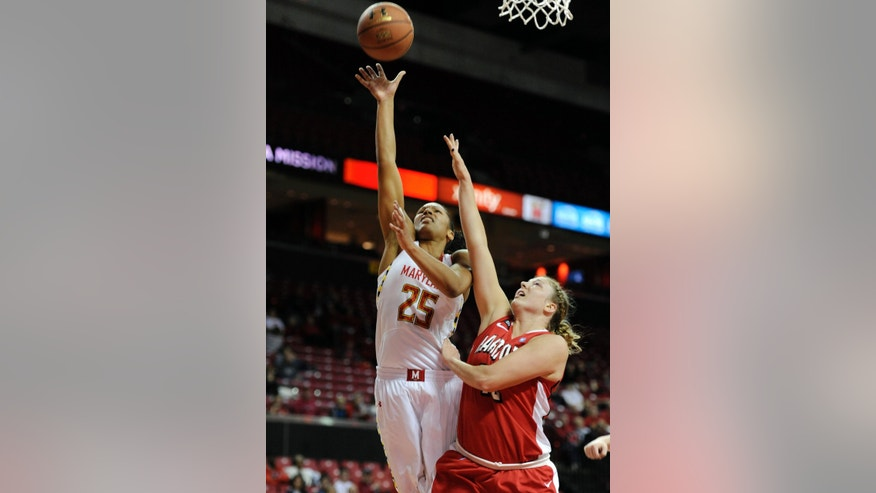 Maryland's Alyssa Thomas shoots as Hartford's Taylor Clark defends in the first half of an NCAA college basketball game Saturday, Dec. 29, 2012 in College Park, Md. (AP Photo/Gail Burton).