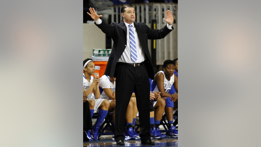 Kentucky head coach Matthew Mitchell directs his team during the first half of an NCAA women's college basketball game against Marist at Memorial Coliseum in Lexington, Ky., Sunday, Dec. 30, 2012. (AP Photo/James Crisp)