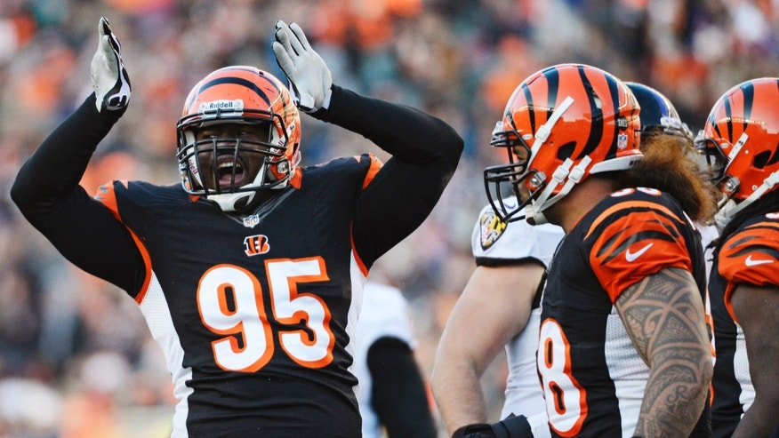 Cincinnati Bengals defensive end Wallace Gilberry (95) celebrates after making a sack in the second half of an NFL football game against the Baltimore Ravens, Sunday, Dec. 30, 2012, in Cincinnati. Cincinnati won 23-17. (AP Photo/Michael Keating)