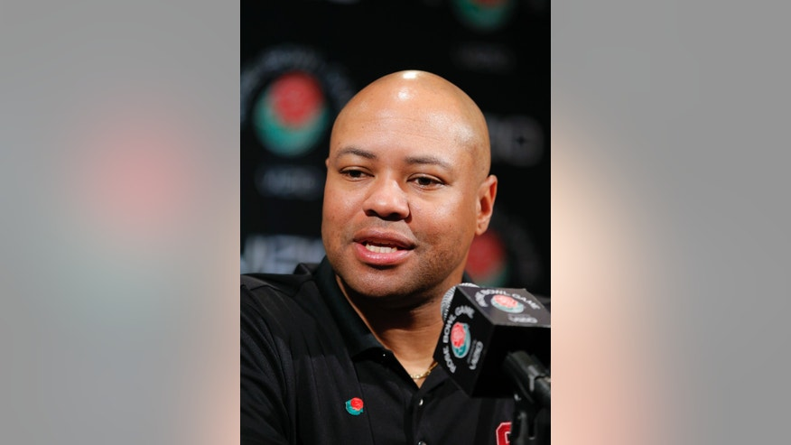 Stanford head coach David Shaw talks to reporters during the Rose Bowl media day in Los Angeles, Saturday, Dec. 29, 2012. Stanford will face Wisconsin in the Rose Bowl NCAA college football game on New Year's Day in Pasadena, Calif. (AP Photo/Jae Hong)