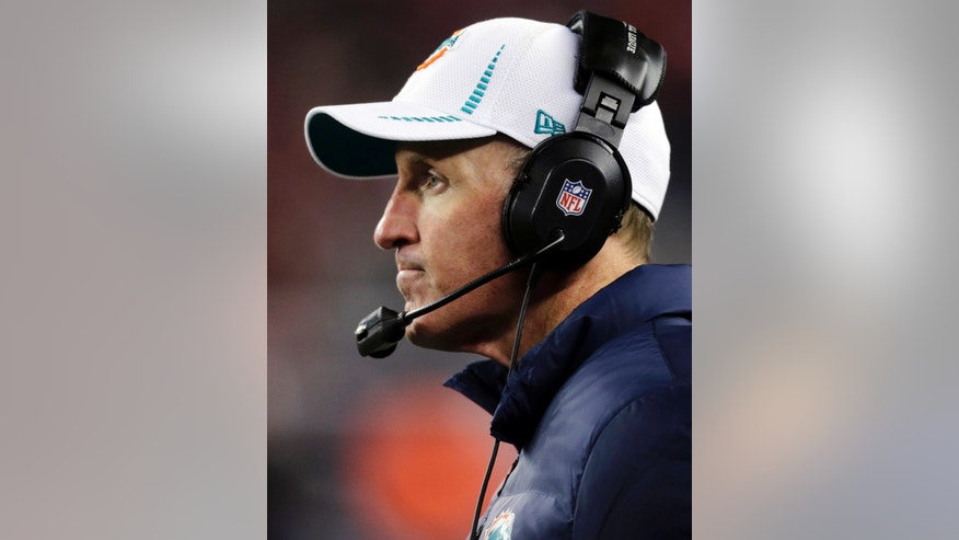 Miami Dolphins head coach Joe Philbin watches his team play against the New England Patriots during the third quarter of an NFL football game in Foxborough, Mass., Sunday, Dec. 30, 2012. (AP Photo/Charles Krupa)