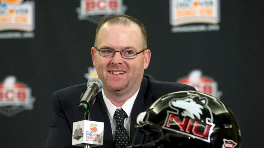 Northern Illinois coach Rod Carey talks to the media during the coaches' news conference for the Orange Bowl NCAA college football game in Fort Lauderdale, Fla., Monday, Dec. 31, 2012. Northern Illinois is scheduled to play Florida State in the New Year's Day game. (AP Photo/J Pat Carter)