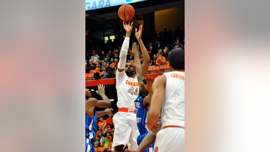 Syracuse's James Southerland shoots against Central Connecticut State during the first half of an NCAA college basketball game in Syracuse, N.Y., Monday, Dec. 31, 2012. (AP Photo/Kevin Rivoli)