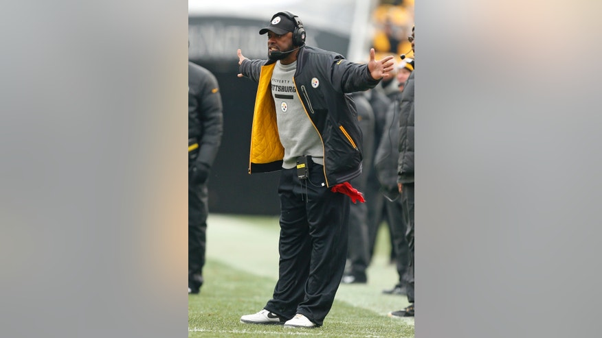 Pittsburgh Steelers head coach Mike Tomlin disagrees with a pass interference call during the second quarter of an NFL football game against the Cleveland Browns in Pittsburgh, Sunday, Dec. 30, 2012. (AP Photo/Gene J. Puskar)