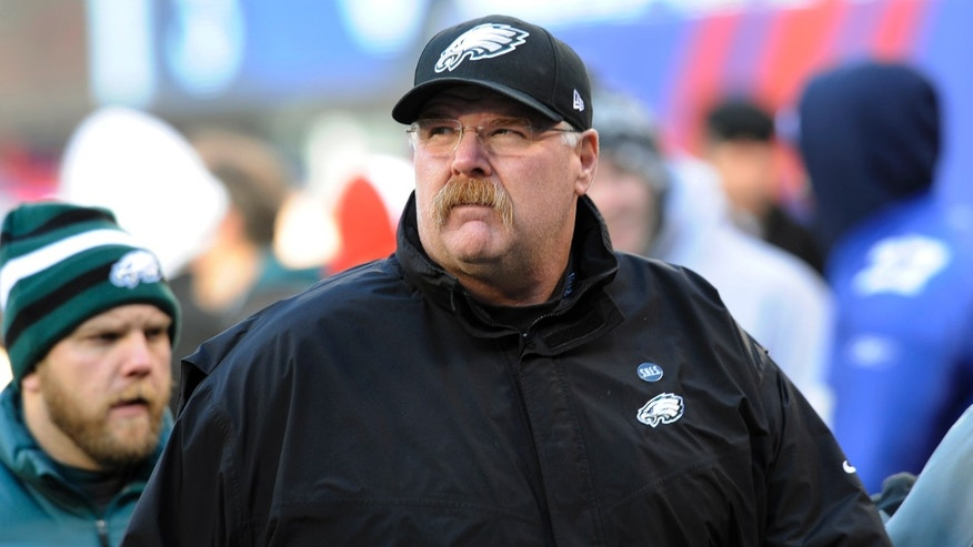 Dec. 30, 2012: Philadelphia Eagles head coach Andy Reid walks on the field before an NFL football game against the New York Giants.