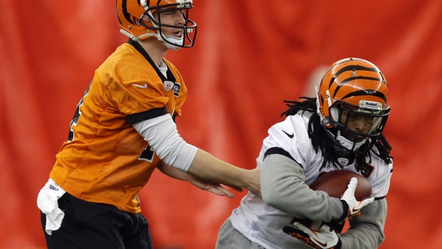 Cincinnati Bengals quarterback Andy Dalton, left, hands off to running back BenJarvus Green-Ellis during practice under a dome at the University of Cincinnati, Wednesday, Jan. 2, 2013, in Cincinnati. Cincinnati plays at Houston this Saturday in an NFL playoff football game. (AP Photo/Al Behrman)