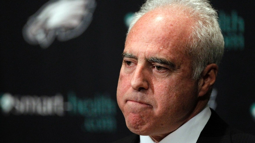 "Philadelphia Eagles owner Jeffrey Lurie pauses while speaking to members of the media during a news conference at the team's NFL football training facility, Monday, Dec. 31, 2012, in Philadelphia. Andy Reid's worst coaching season with the Eagles ended Monday after 14 years when he was fired by Lurie, who said it was time ""to move in a new direction."" (AP Photo/Matt Rourke)"