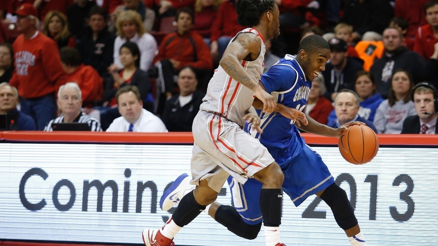 Creighton's Jahenns Manigat (12) moves down the court against the defense of Illinois State's Bryant Allen (2) during the first half of an NCAA college basketball game at Redbird Arena, Wednesday, Jan. 2, 2013, in Normal, Ill. (AP Photo/ Stephen Haas)