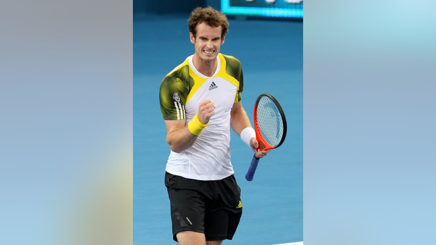 Andy Murray of Britain reacts after winning his quarterfinal match against Denis Istomin of Uzbekistan 6-4, 7-6 (3) at the Brisbane International tennis tournament held in Brisbane, Australia, Friday, Jan. 4, 2013.  (AP Photo/Tertius Pickard)