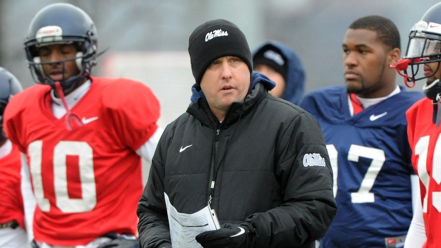 Mississippi coach Hugh Freeze directs his players during NCAA college football practice at Birmingham-Southern College in Birmingham, Ala., Wednesday, Jan. 2, 2013.  Mississippi plays Pittsburgh in the  BBVA Compass Bowl on Saturday. (AP Photo/AL.com,  Mark Almond) MAGS OUT