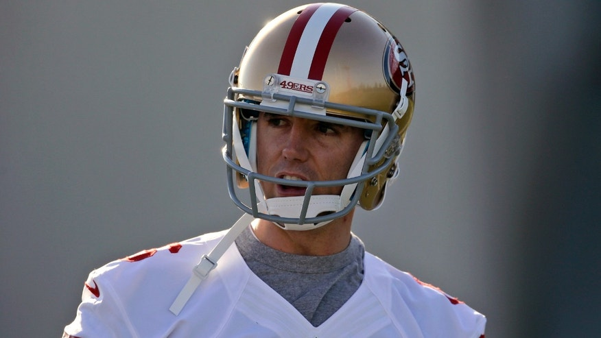 San Francisco 49ers' Billy Cundiff looks on during workouts at an NFL football practice in Santa Clara, Calif., Thursday, Jan. 3, 2013. Cundiff signed a one-year contract on Tuesday with the NFC West champion 49ers to compete with David Akers to handle the kicking duties for San Francisco in the NFC divisional playoffs Jan. 12. (AP Photo/Marcio Jose Sanchez)